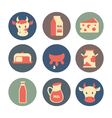 Dairy and milk products flat icons set vector