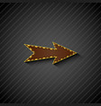 an arrow sign with light bulbs on black background vector image