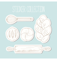 Bakery sticker collection with hand drawn food and vector image