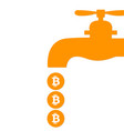 bitcoin faucet water tap with coins vector image
