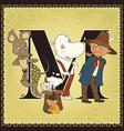 children book cartoon fairytale alphabet letter m vector image