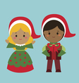 Cute holiday characters vector image