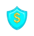 Dollar sign on a sky blue shield with tick icon vector image