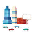 flat city urban elements buildings and cars vector image