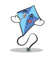 kissing face blue kite character cartoon vector image