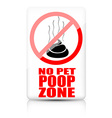 No pet poop zone sign vector image