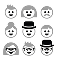 People with grey hair seniors old people icons vector image