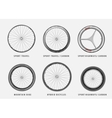set of different types of bicycle wheels vector image