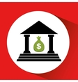 silhouette building bank bag money icon orange vector image