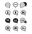 Speech bubble blog contact icons set vector image
