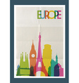 Travel Europe landmarks skyline vintage poster vector image