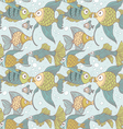 Seamless vintage ornament variety of fish vector image