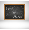 Back to School text on black wooden chalkboard vector image