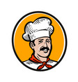 chef cook logo label or icon for design menu vector image