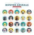 Flat Style Hipster Animals Avatar Icon Set vector image