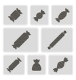 monochrome icons with candies vector image