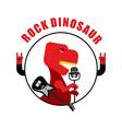 Rock dinosaur emblem for old rock musicians vector image