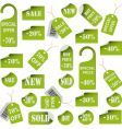set of green price tags and labels vector image