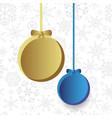 Two christmas bulb on snowflake background eps10 vector image