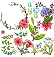 Set of cartoon flowers vector image