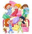 Girls playing pillow fight at slumber party vector image vector image