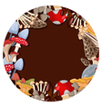 different kinds of mushrooms with brown circle vector image vector image