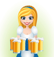 Oktoberfest cartoon girl with beer vector image