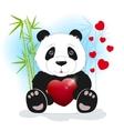Panda keeps the heart vector image