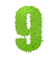 Number 9 consisting of green leaves vector image