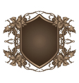 shield with floral vector image vector image