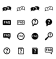 black faq icon set vector image