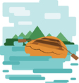 Abstract design with a wooden boat on the water vector image