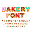 bakery font donut abc baked in oil letters vector image