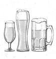 beer glasses on white vector image