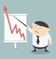 Fat businessman pointing growing a presentation vector image