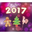 Gingerbread man Christmas tree and Rooster vector image