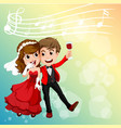 wedding couple celebrating with music notes in vector image