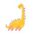 cute funny yellow dinosaur prehistoric animal vector image