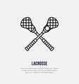 lacrosse line icon ball and sticks logo vector image vector image