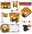 glossy icons with flag of province new brunswick vector image