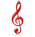 Red treble clef vector image