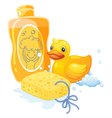 A bubble bath with a sponge and a toy duck vector image