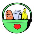 basket with food icon icon cartoon vector image