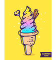 colorful of gradient ice cream with chocolat vector image