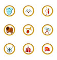medieval tactic icon set cartoon style vector image