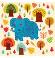 Elephant birthday greeting design vector image