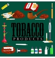 Smoking tobacco products icons set with cigarettes vector image
