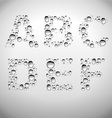 Realistic Water Drops Font from A to F vector image