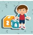 cartoon boy cube alphabet vector image