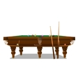 Billiard table with cues on a white background vector image